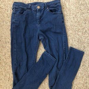 Topshop Leigh Moto Blue Jeans